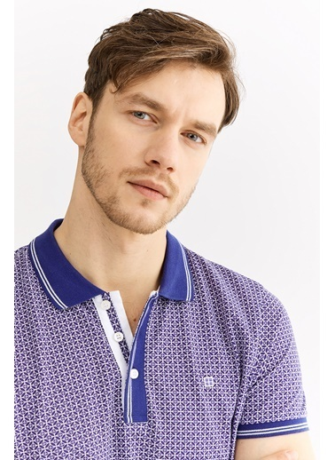 Avva Erkek  Polo Yaka Baskılı Tişört A01Y1051 Mor